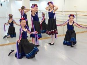 Utkledde dansere med skjørt